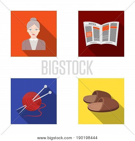 An elderly woman, slippers, a newspaper, knitting.Old age set collection icons in flat style vector symbol stock illustration .