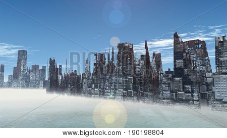 Armageddon in New York 3d render
