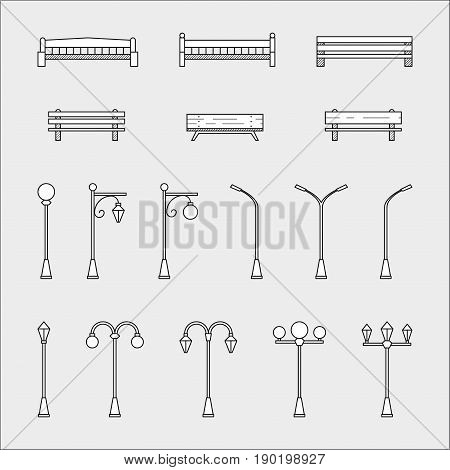 Set of thin line flat style icons of park benches and streetlamps