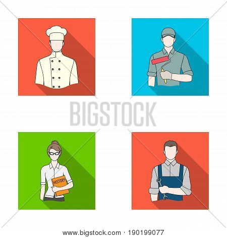 Cook, painter, teacher, locksmith mechanic.Profession set collection icons in flat style vector symbol stock illustration .