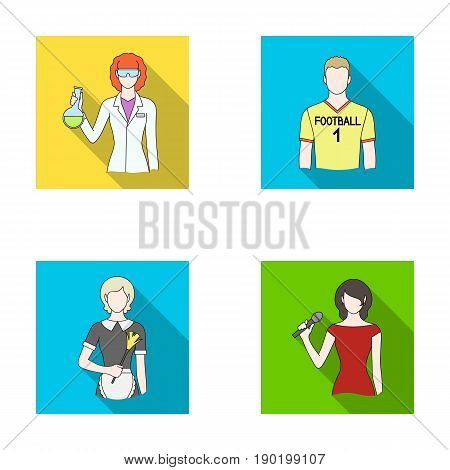 Woman chemist, football player, hotel maid, singer, presenter.Profession set collection icons in flat style vector symbol stock illustration .