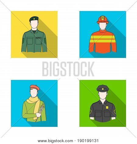Military, fireman, artist, policeman.Profession set collection icons in flat style vector symbol stock illustration .