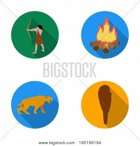 Man, hunter, onion, bonfire .Stone age set collection icons in flat style vector symbol stock illustration .