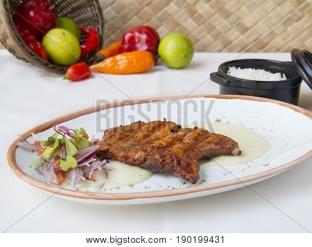 Marinated pork chop.