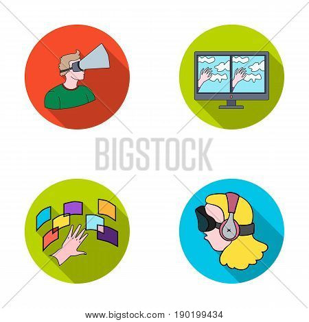 Hand, monitor, headphones, woman .Virtual reality set collection icons in flat style vector symbol stock illustration .