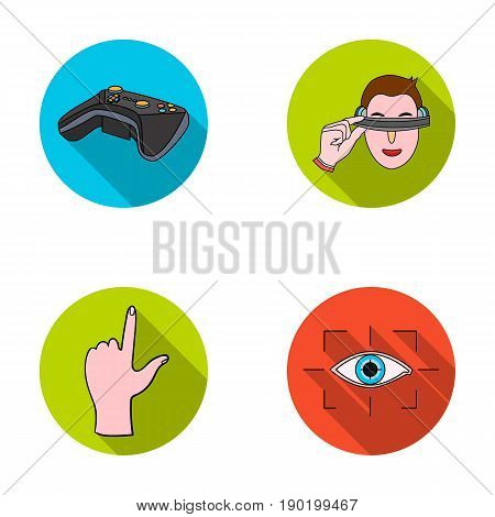 Virtual, reality, helmet, computer, technology, .Virtual reality set collection icons in flat style vector symbol stock illustration .