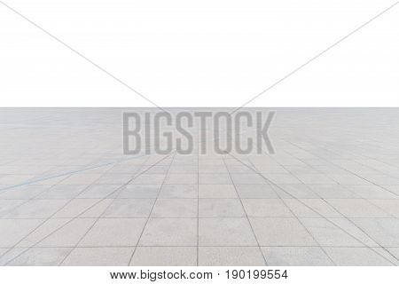 empty concrete square floor isolated on white with clipping path as a foreground material