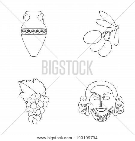 Greece, olive, branch, vase .Greece set collection icons in outline style vector symbol stock illustration .