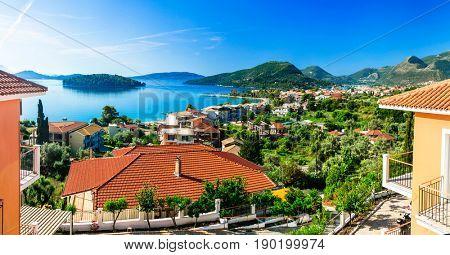Holidays on beautiful Lefkada. Nidri bay. Ionian islands of Greece