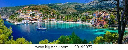 colorful Greece series - colorful Assos with beautiful bay. Kefalonia , Ionian islands