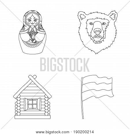 Russia, country, nation, matryoshka .Russia country set collection icons in outline style vector symbol stock illustration .