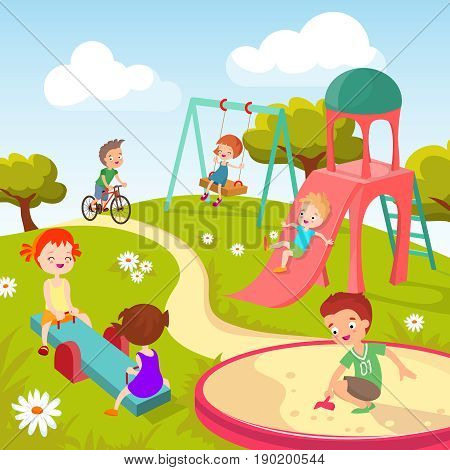 Cute children at playground. Happy children playing in summer park vector background. Kindergarten with boy and girl, illustration of childhood in park