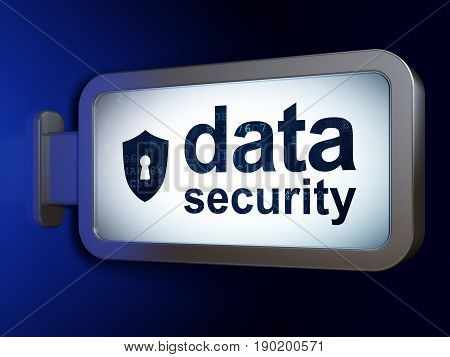 Safety concept: Data Security and Shield With Keyhole on advertising billboard background, 3D rendering