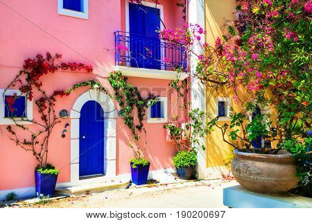 Colorful Greece series - charming streets of Assos village in Kefalonia islands