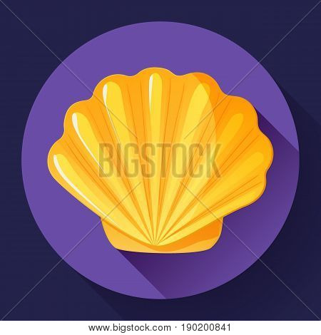 gold Sea shell icon vector shell logo template. Seafood flat icon.