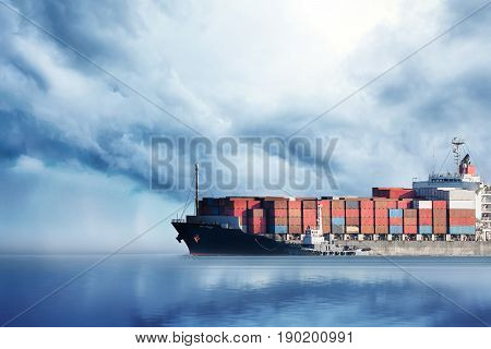 International Container Cargo ship in the ocean Freight Transportation Nautical Vessel