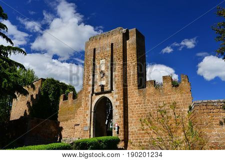 Entrance of the medieval Albornoz Fortress in the historic center of Orvieto an ancient papal fort and now the city public park