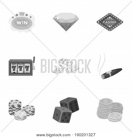 The set of symbols casino games. Gambling for money. Chips, dominoes, casino. Casino and gambling icon in set collection on monochrome style vector symbol stock  illustration.