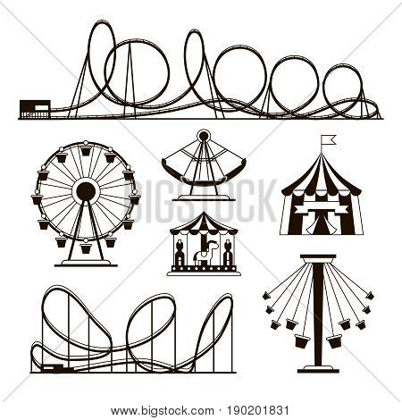 Amusement park, roller coasters and carousel vector icons. Festival and rollercoaster attraction illustration