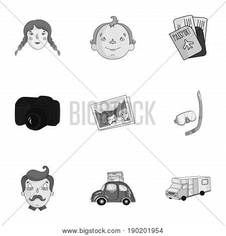 Family, family traditions, recreation. Family life.Family holiday icon in set collection on monochrome style vector symbol stock  illustration.