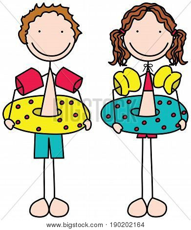 Cartoon illustration of a boy and a girl in wearing swimming rings and armbands