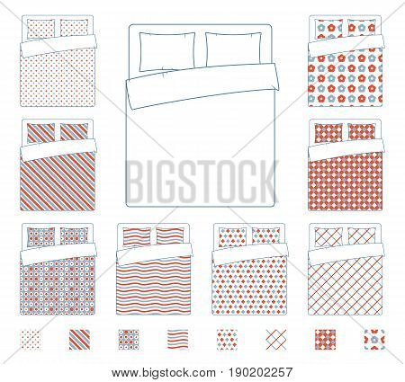 Linen and bedding, duvet vector textile patterns template. Textile pattern design blanket, illustration of fabric cover cloth for bed