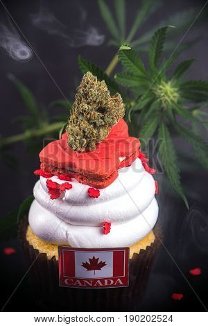 Infused cupcake with cannabis nug, flowers and flag to celebrate candian 150 anniversary and the marijuana industry
