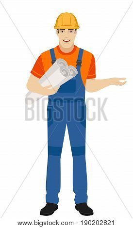 Builder holding the project plans and gesturing. Full length portrait of builder character in a flat style. Vector illustration.