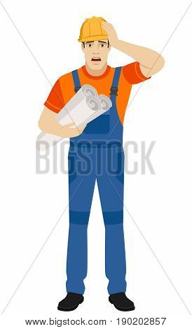 Builder holding the project plans and grabbed his head. Full length portrait of builder character in a flat style. Vector illustration.