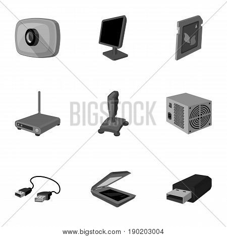Computer accessories. Headphones, computer parts, accessories.Personal computer icon in set collection on monochrome style vector symbol stock  illustration.