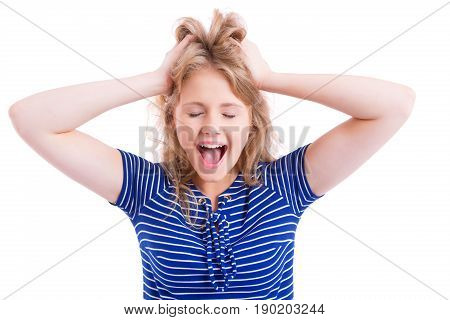 Beautiful Blond Girl Screaming