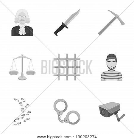 Set of images about the prison and prisoners. Surveillance of thieves, court, crime and punishment.Prison icon in set collection on monochrome style vector symbol stock  illustration.