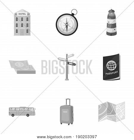 Set of icons on the theme of rest. Travel abroad. Rest ang travel icon in set collection on monochrome style vector symbol stock  illustration.