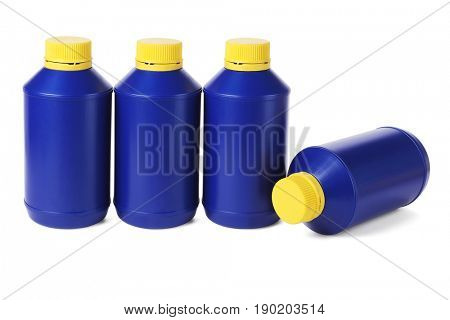 Row of Blue Plastic Bottles on White Background