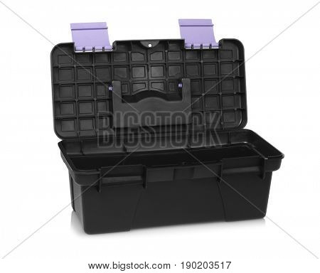 Open Empty Black Toolbox on White Background