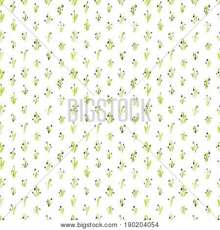 Calico Watercolor Bluebell Pattern. Fantastic Seamless Cute Small Flowers For Fabric Design. Calico