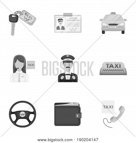Set of icons about the taxi. A call taxi driver, Parking. Transportation around the city.Taxi icon in set collection on monochrome style vector symbol stock  illustration.