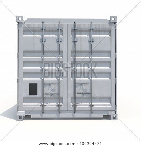 Freight shipping container isolated on white background. Front view. 3D illustration