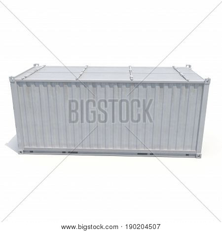Shipping container isolated on white background. Side view. 3D illustration
