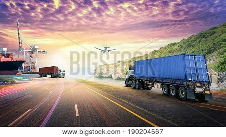 Logistics import export background and transport industry of Container truck on the road with Cargo ship and Cargo plane at sunset sky