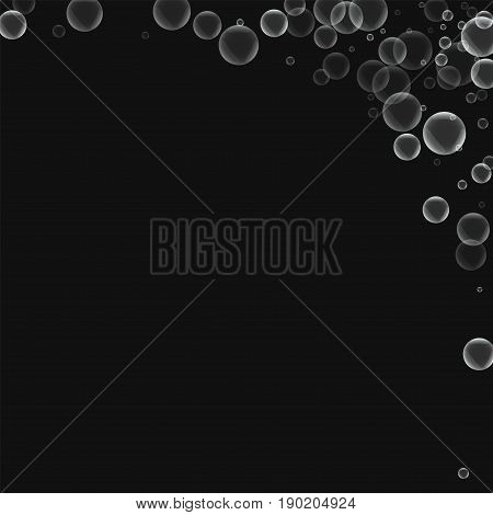 Random Soap Bubbles. Abstract Right Top Corner With Random Soap Bubbles On Black Background. Vector