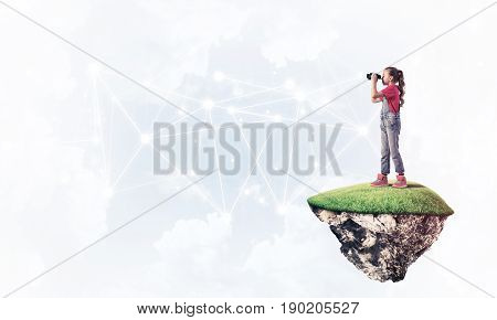 Cute girl on floating island looking in spyglass presenting social connection concept