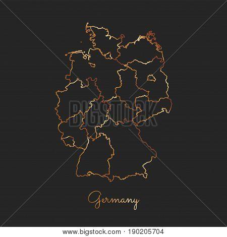 Germany Region Map: Golden Gradient Outline On Dark Background. Detailed Map Of Germany Regions. Vec