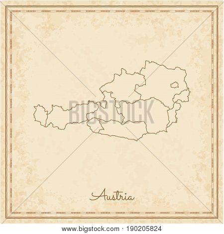 Austria Region Map: Stilyzed Old Pirate Parchment Imitation. Detailed Map Of Austria Regions. Vector