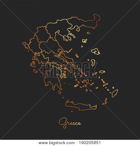Greece Region Map: Golden Gradient Outline On Dark Background. Detailed Map Of Greece Regions. Vecto