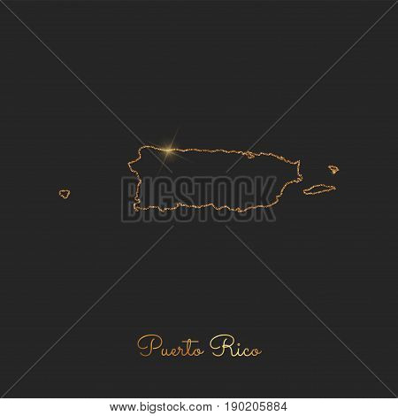 Puerto Rico Region Map: Golden Glitter Outline With Sparkling Stars On Dark Background. Detailed Map