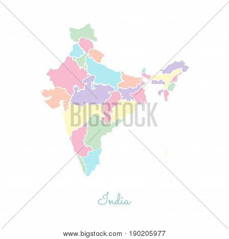 India Region Map: Colorful With White Outline. Detailed Map Of India Regions. Vector Illustration.