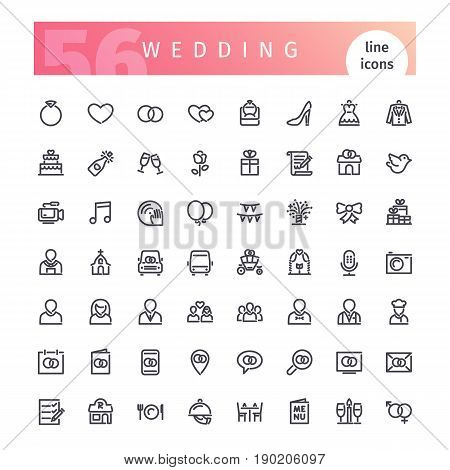 Set of 56 wedding line icons suitable for web, infographics and apps. Isolated on white background. Clipping paths included.