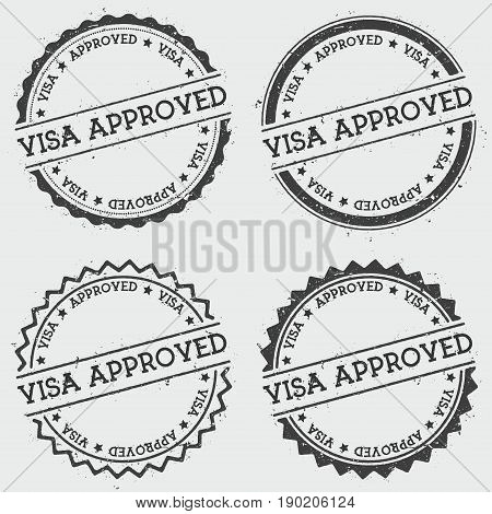 Visa Approved Insignia Stamp Isolated On White Background. Grunge Round Hipster Seal With Text, Ink
