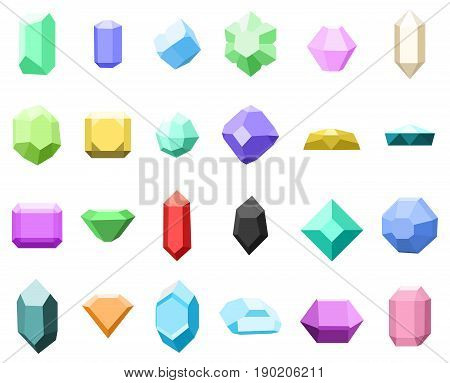 Set of 16 diamonds. gemstone icons set. vector illustration with stones. can be use for jewelry